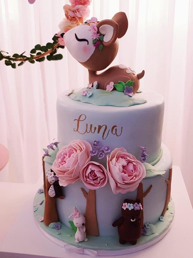 Tremendous Woodland First Birthday Cake Cake By Gingercakeshop Cakesdecor Personalised Birthday Cards Veneteletsinfo