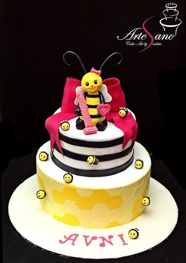 Bee theme first birthday cake