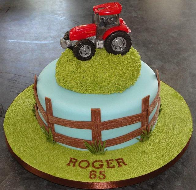 Fine Red Tractor Birthday Cake With Wooden Fence And Grass Cakesdecor Personalised Birthday Cards Beptaeletsinfo