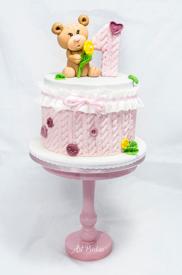1st Bday Knitted Cake