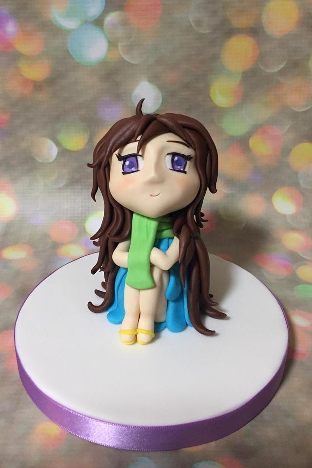 Little winter anime girl