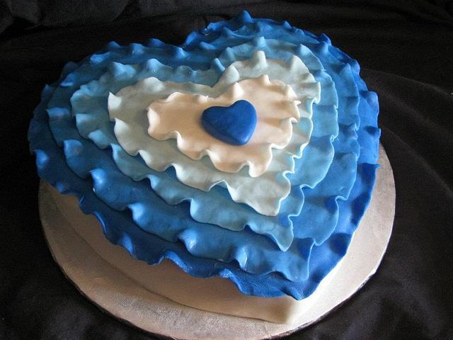 Blue Ruffle Heart cake