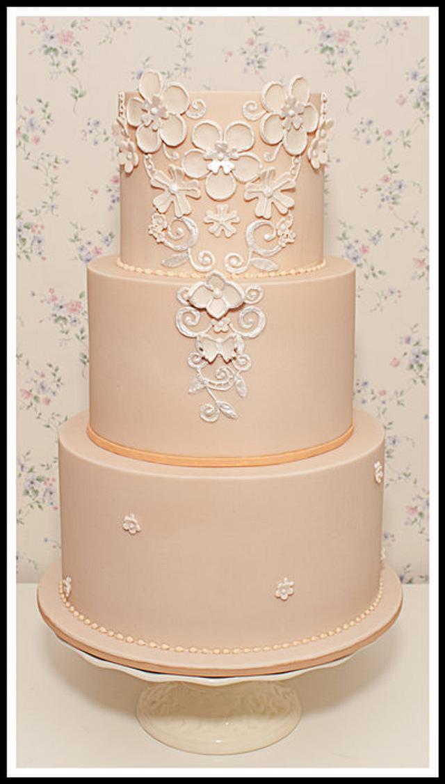 Peach Wedding Cake - Inspired by Temperley London