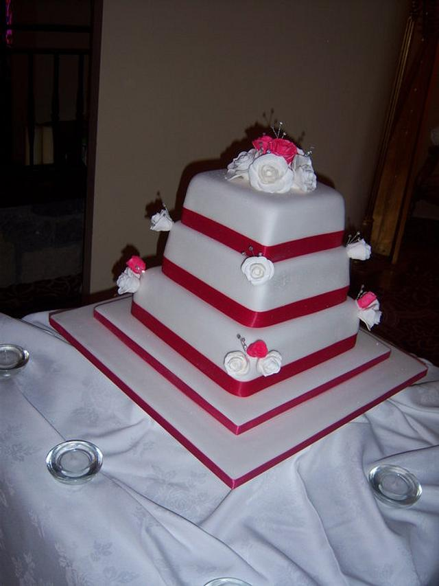 Pink Satin & Rose Wedding Cake