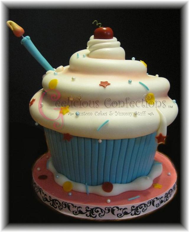 Giant Whimsical Cupcake Cake