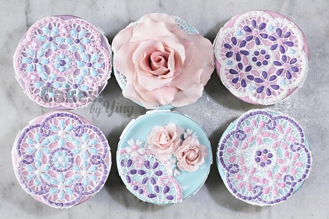 Pastel rose mosaic cupcake toppers
