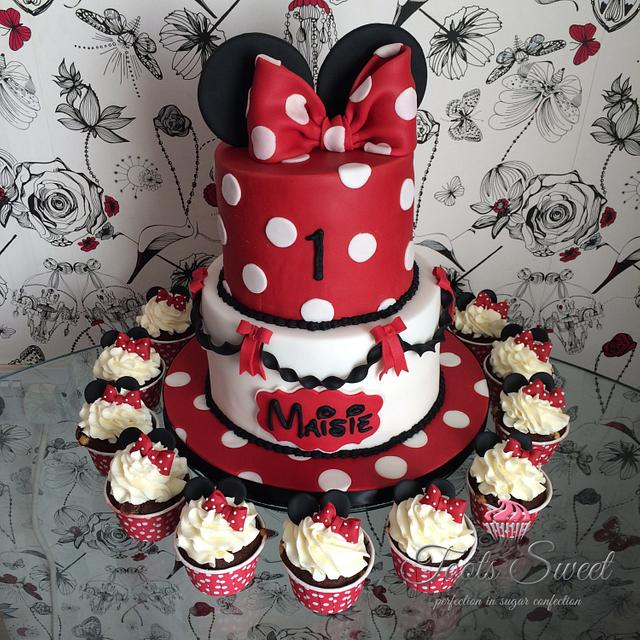 Minnie Mouse Style 1st Birthday Cake