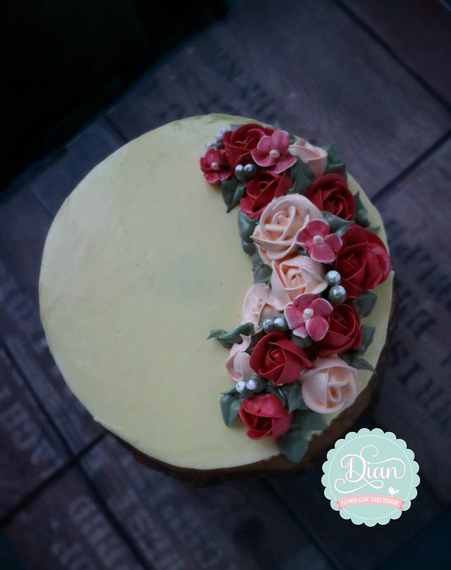 White meringue cake flower cream