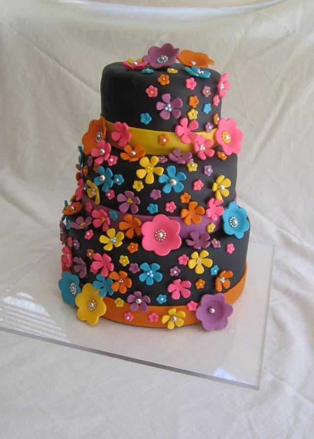 Funky Flowers Wedding Cake