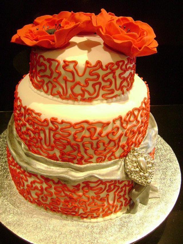 Anemone and corinelli wedding cake