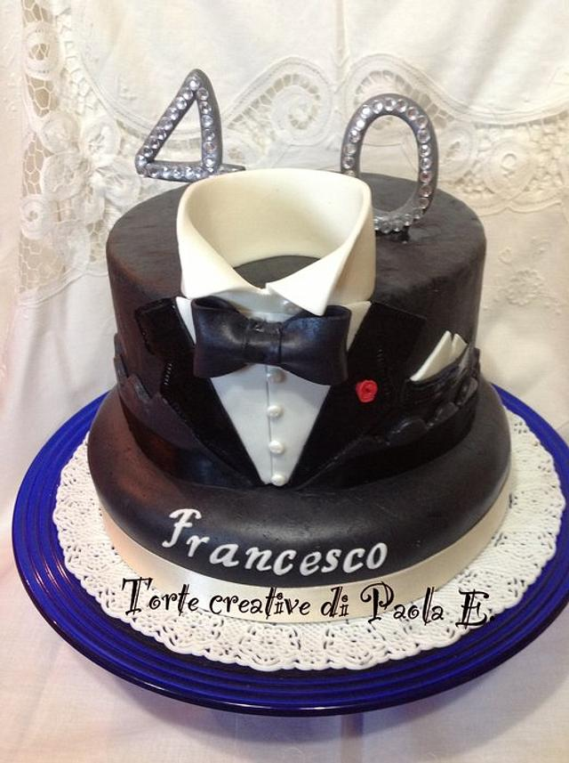 Awesome Tuxedo Cake 40Th Birthday Cake Torta Smoking X I 40 Cakesdecor Funny Birthday Cards Online Inifofree Goldxyz