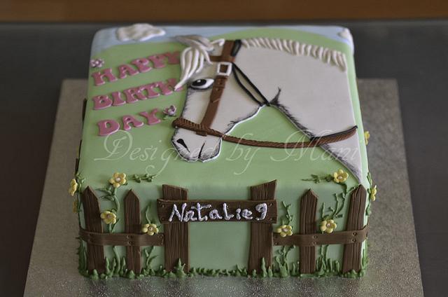 """white horse"" birthday cake"