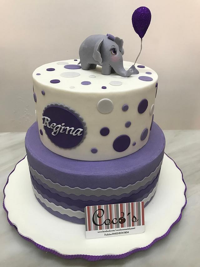 Baby shower purple cake