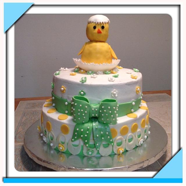 Baby chick baby shower cake