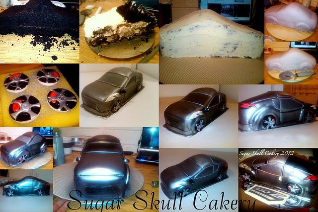 Nissan Car Cake Process Collage=)