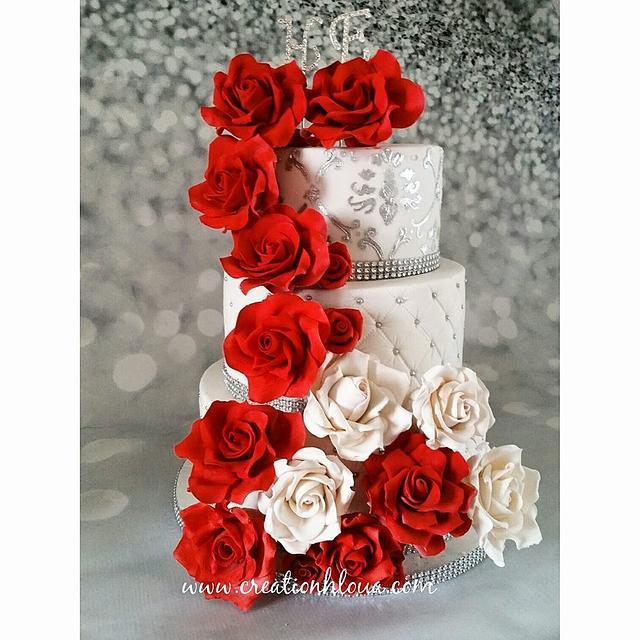 wedding cake rose rouge
