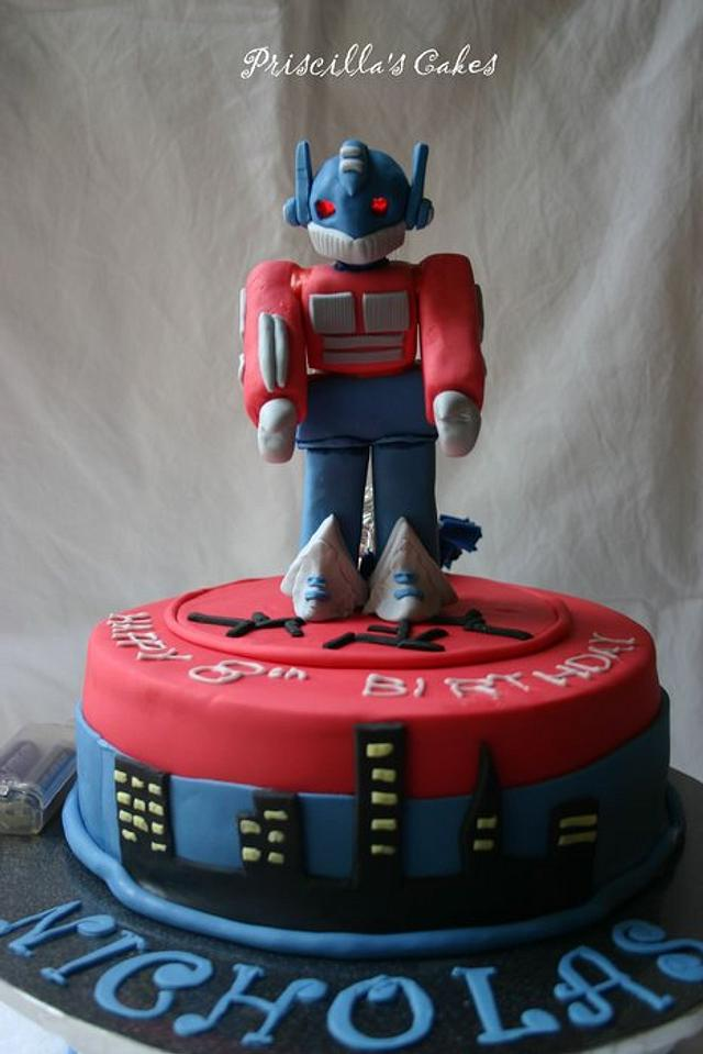 Peachy Transformer Birthday Cake Cake By Priscillas Cakes Cakesdecor Funny Birthday Cards Online Elaedamsfinfo