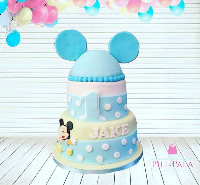 Incredible Mickey Mouse Themed 1St Birthday Cake Cake By Hannah Cakesdecor Funny Birthday Cards Online Unhofree Goldxyz