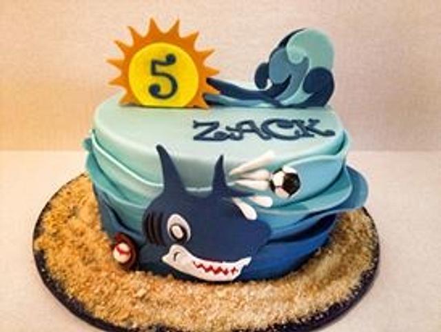 Fantastic Sharks Sports Birthday Cake Cake By The Ruffled Crumb Cakesdecor Funny Birthday Cards Online Bapapcheapnameinfo