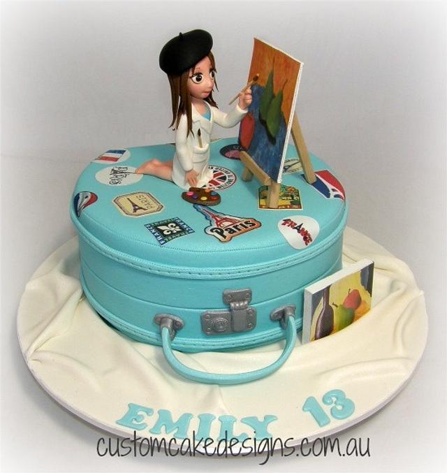 Admirable Travelling Artist 13Th Birthday Cake Cake By Custom Cakesdecor Funny Birthday Cards Online Hetedamsfinfo