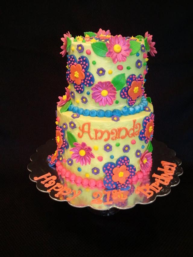 Whimsical 21th Birthday Cake