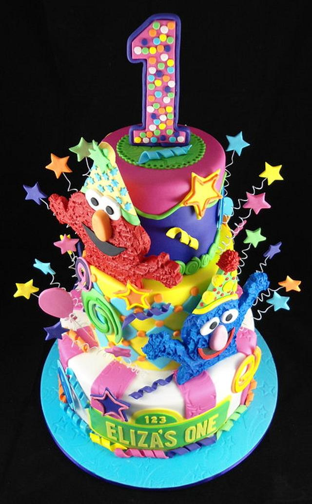 Amazing Sesame Street First Birthday Cake By Lisa Jane Fudge Cakesdecor Personalised Birthday Cards Sponlily Jamesorg