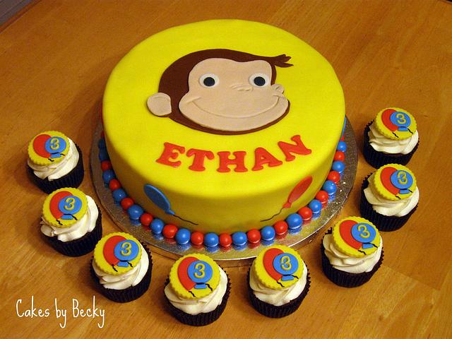 Curious George Cake with Matching Cupcakes