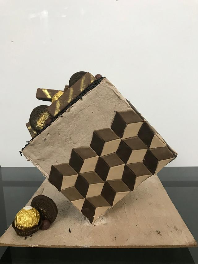 Gravity defying optical illusion Cake