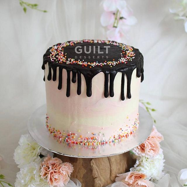 Pink Sprinkles Drip Cake