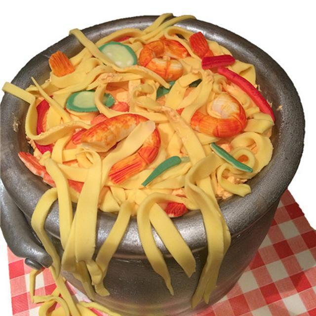 Prawn noodle cake