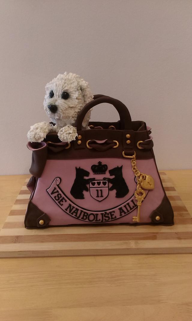 Dog in a handbag cake