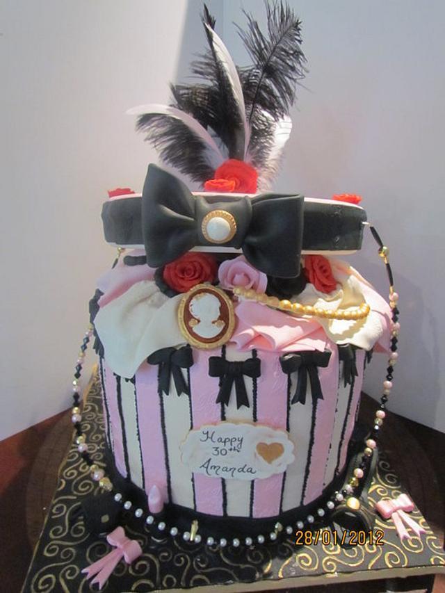 Open Hat Box Cake
