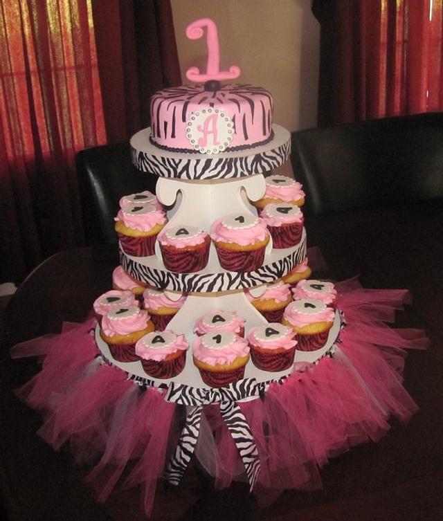 Pink Zebra Print Cupcake Tower