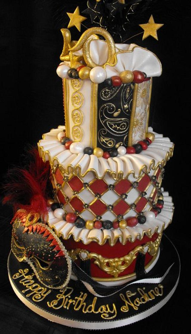 Pleasing 3 Tier Masquerade Ball Cake Cake By Dee Cakesdecor Funny Birthday Cards Online Alyptdamsfinfo