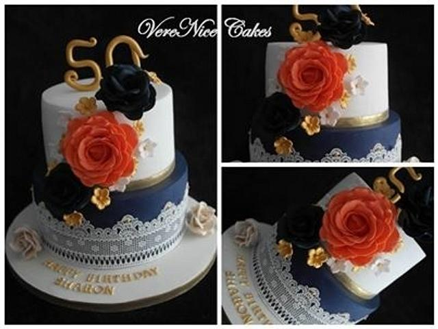 Navy Blue and Coral Cake #Wedding #Cake