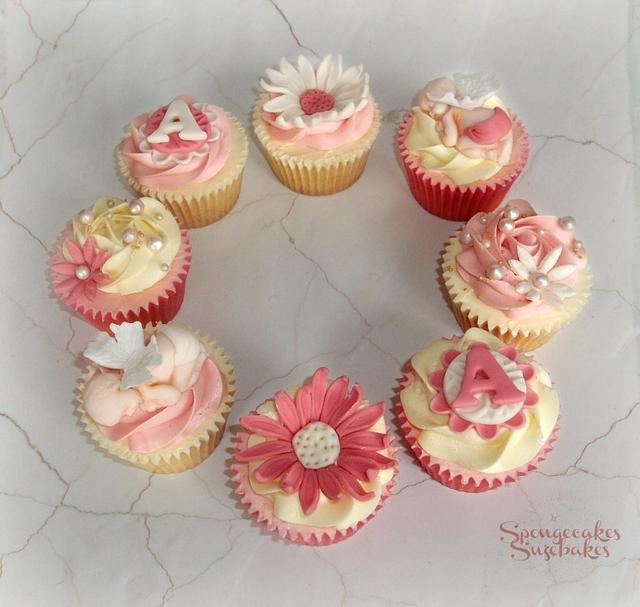 Cherub Christening Cake & Cupcakes