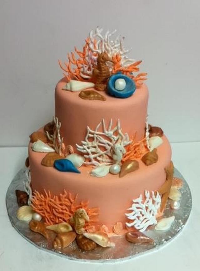 Coral seashell cake