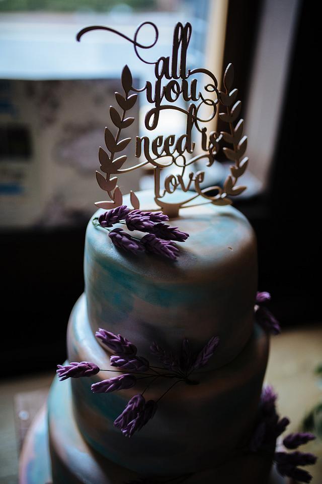 Rustic watercolour wedding cake