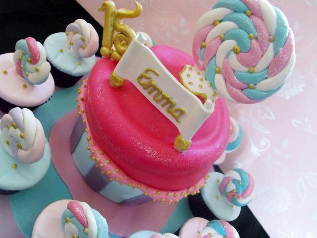 Lollipop giant cupcake