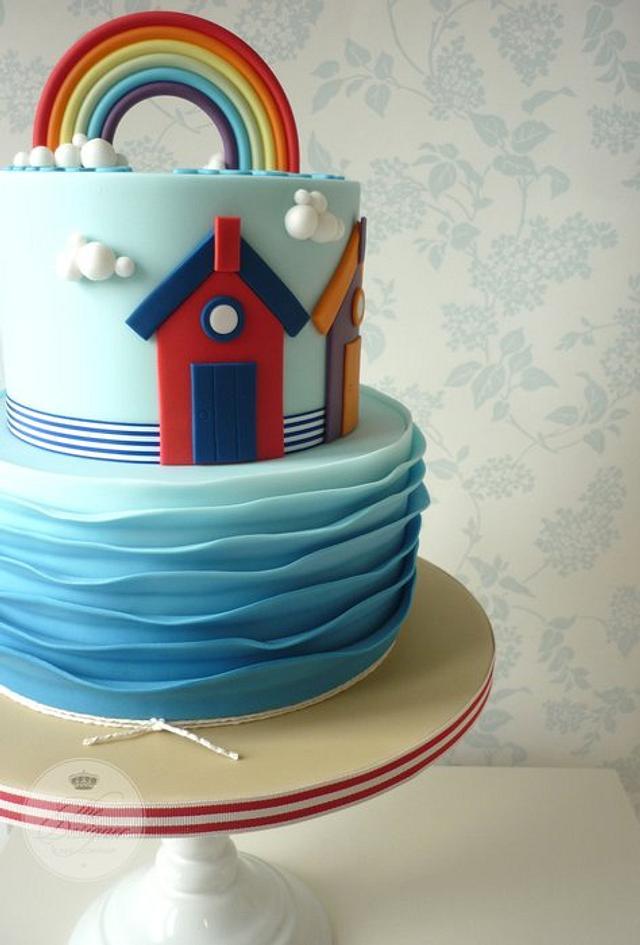 Beach christening cake