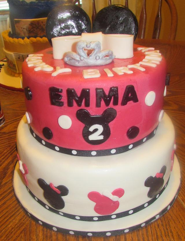 Remarkable Minnie Mouse 2Nd Birthday Cake By Laura Cakesdecor Personalised Birthday Cards Veneteletsinfo