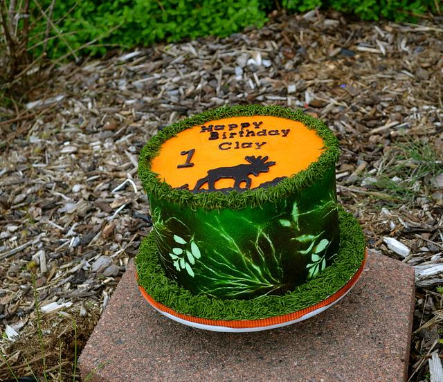 Moose Hunter Camo Cake