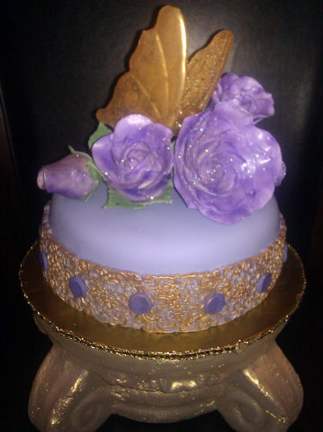 Purple cake, Purple roses and isomalt butterfly