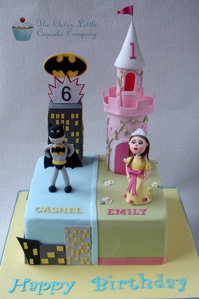 Princess Castle and Batman Cake