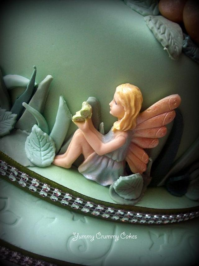 Fairy themed wedding cake