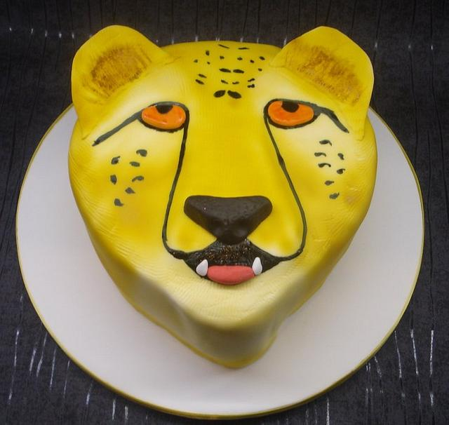 Cheetah head cake