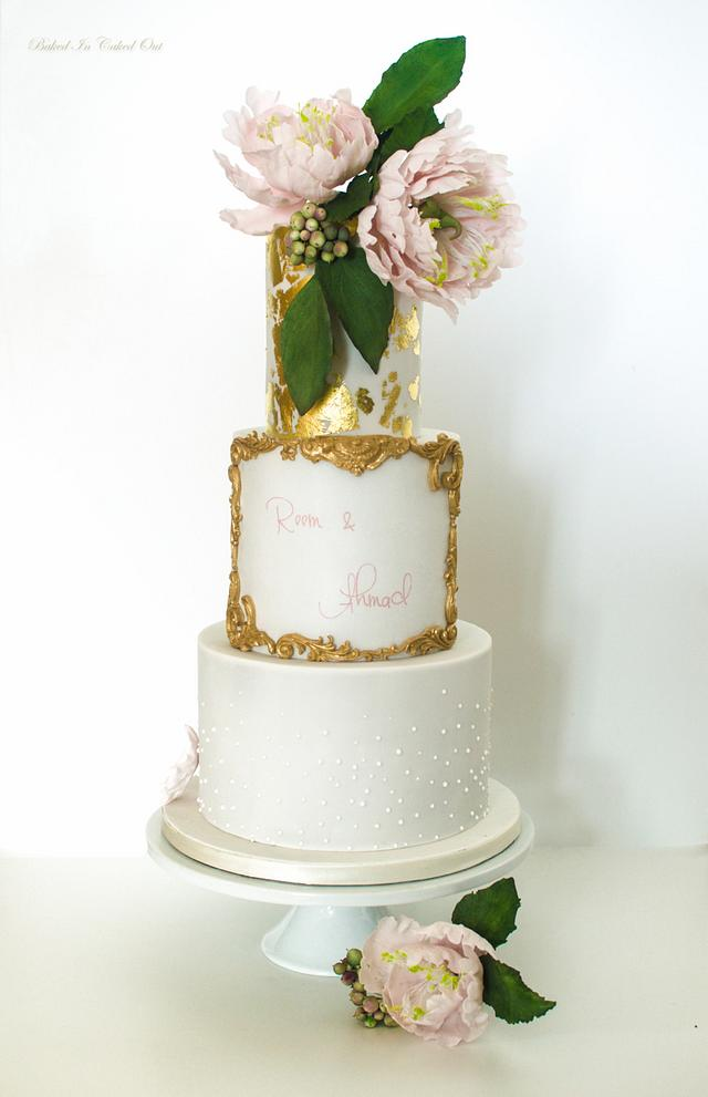 Gold leaf and peony cake