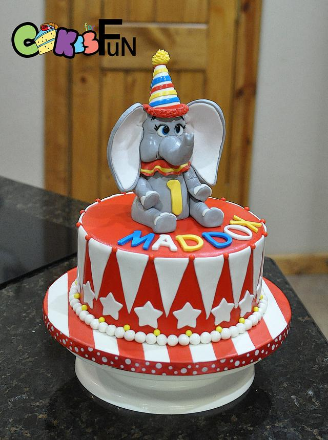 Pleasant First Birthday Cake With Dumbo Cake By Cakes For Fun Cakesdecor Birthday Cards Printable Trancafe Filternl