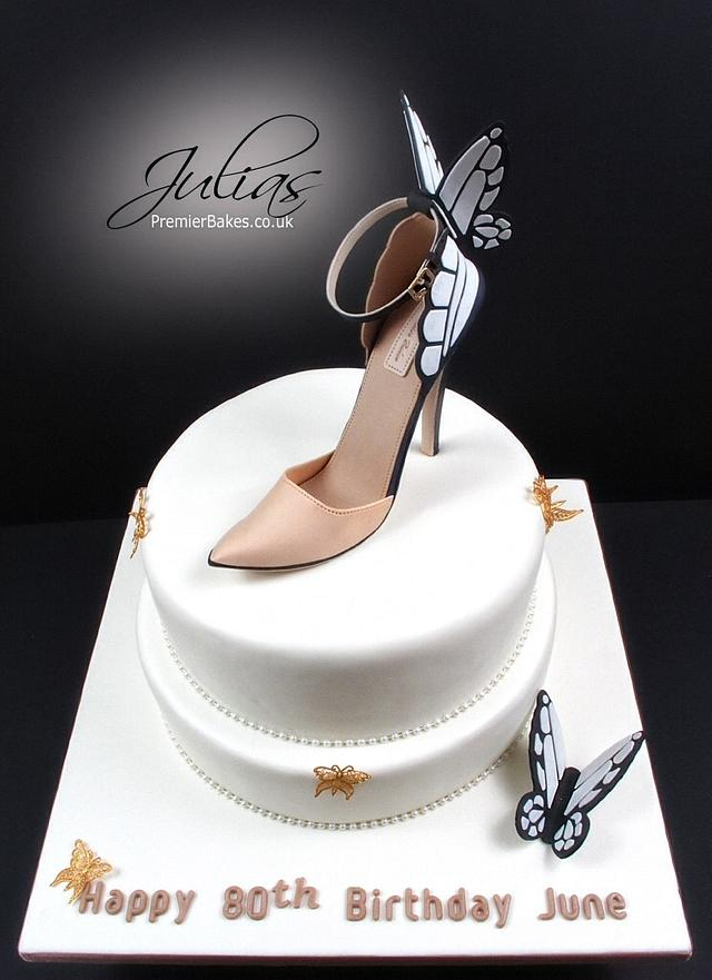 Butterfly cake and shoe