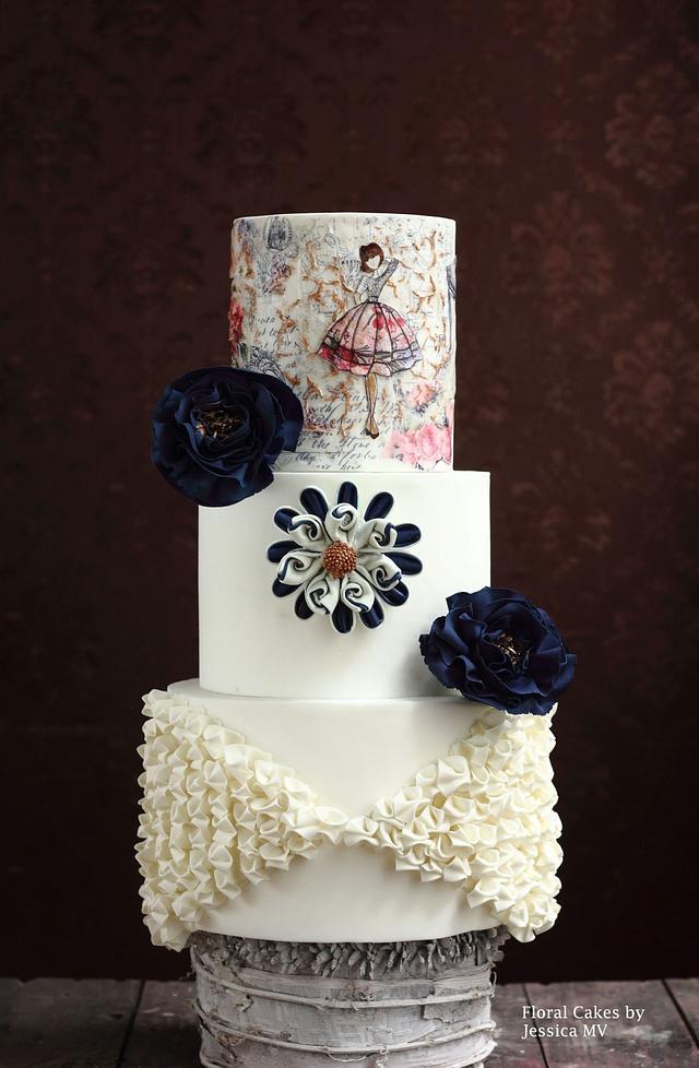 WHITE& NAVY BLUE WEDDING CAKE